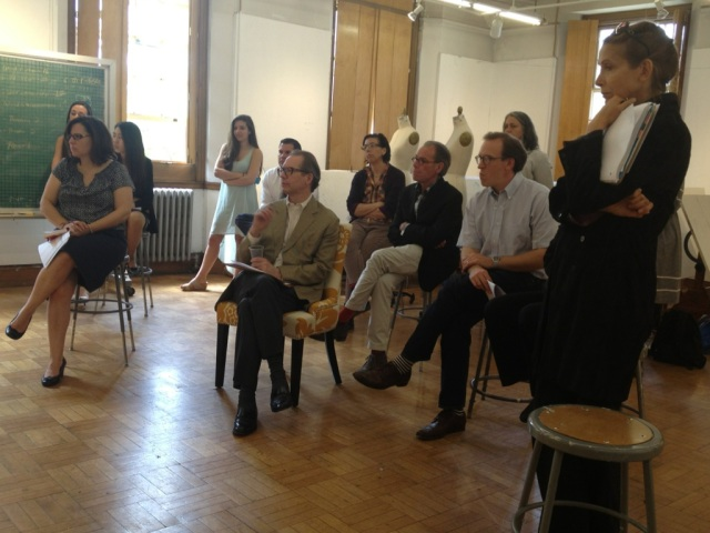 Representatives from Fabriuct and Traditional Home along with RISD professors at the final critique.